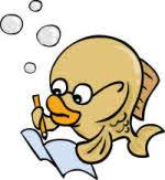 Deze vis is bezig met een leuk artikel.